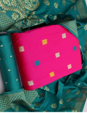 pink banarasi silk fabric printed work ethnic