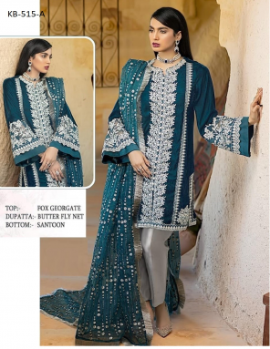 rama faux georgette fabric embroidery work ethnic