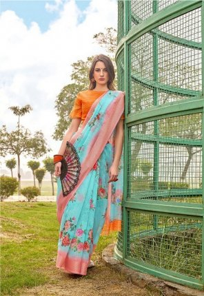 sky blue cotton fabric print work casual wear