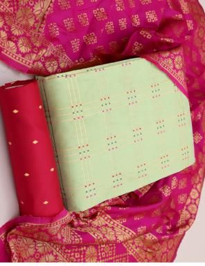 light peorrot banarasi jacquard  fabric jacquard work ethnic