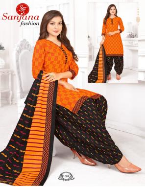 orange pure cotton fabric printed work casual