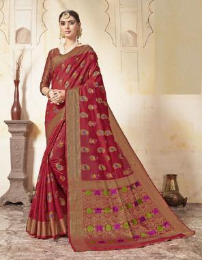 marron art silk fabric jacquard work wedding