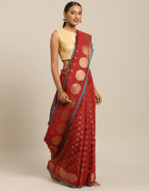 red handloom silk fabric jacquard work festive