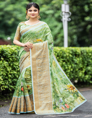 green cotton  fabric printed work party wear