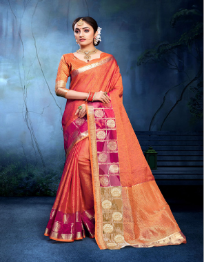 orange cotton silk fabric jacquard work ethnic
