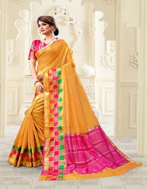 yellow cotton silk fabric jacquard work ethnic