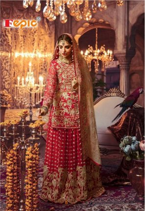 red georgette fabric embroidery work wedding wear