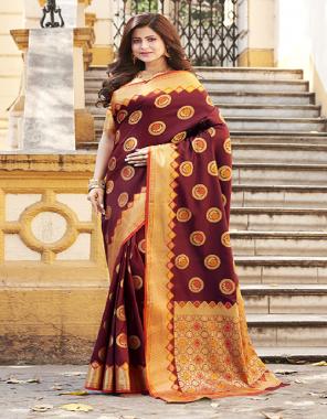 marron banarasi art silk fabric jacquard work running
