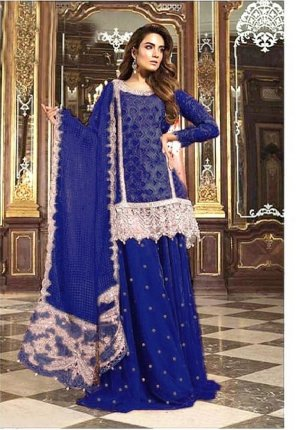 blue heavy net fabric moti work wedding wear