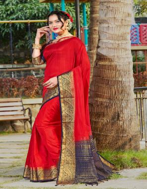 red banarasi silk fabric plian work festive