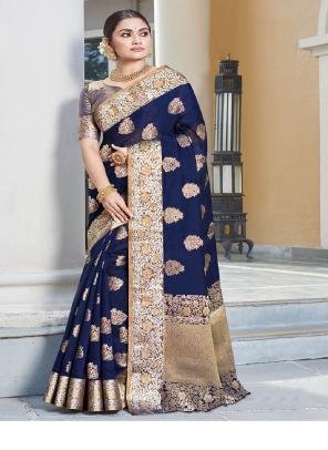 blue art silk fabric jacquard work ethnic