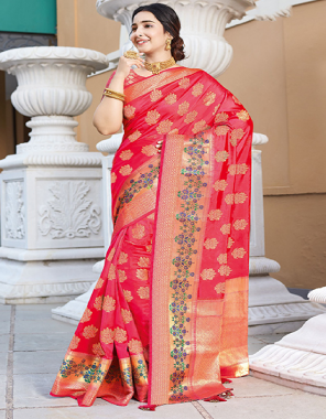 pink art silk fabric jacquard work ethnic