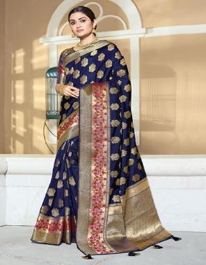 blue art silk fabric jacquard work wedding