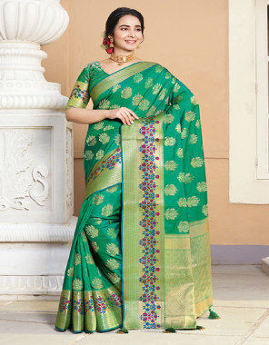 green art silk fabric jacquard work party wear