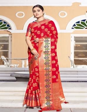 red art silk fabric jacquard work festive