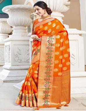 orange art silk fabric jacquard work running