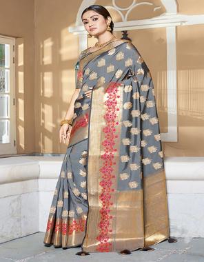 grey art silk fabric jacquard work casual