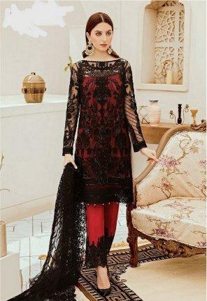 black georgette/net fabric embroidery work festive wear