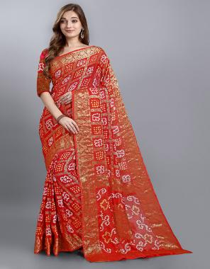 orange georgette  fabric bandhani work ethnic
