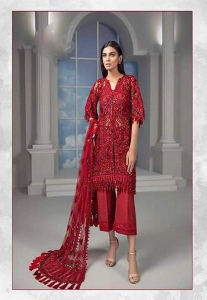 red super net fabric embroidery work wedding wear
