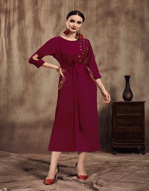 magenta pink kurti - muslin | inner-cotton fabric embroidery work wedding