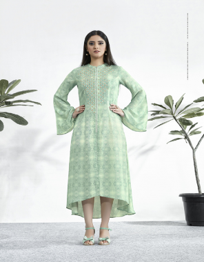 light green muslin fabric printed work party wear