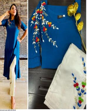blue  rayon fabric handwork work ethnic
