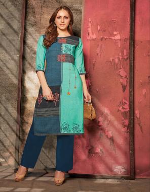 multi kurti - rayon | bottom -cotton fabric printed work ethnic
