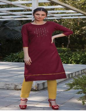 marron kurti - cotton slub | bottom - cotton fabric embroidery work party wear