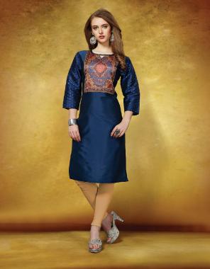 blue tafeta art silk fabric printed work ethnic