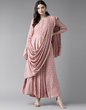 light pink rayon fabric plian work ethnic
