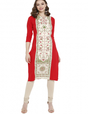 red + white  crepe fabric printed work festive