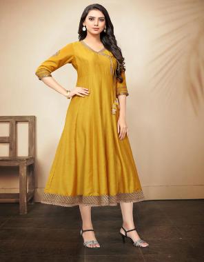 yellow tussar art silk fabric plian work party wear