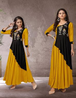 yellow rayon fabric embroidery work ethnic