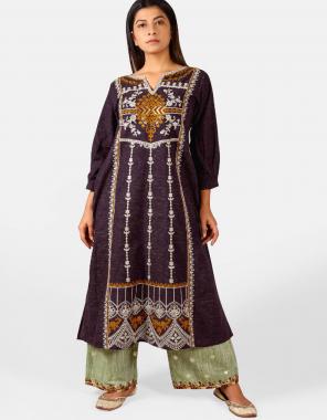 purple khadi fabric embroidery work running