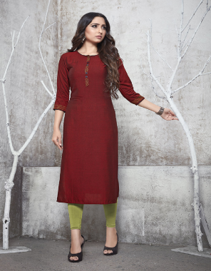 red rayon fabric plian work party wear
