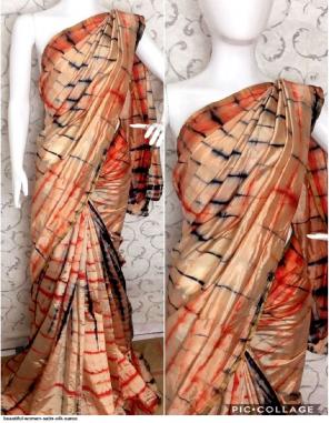 light orange satin silk fabric sibori print work running