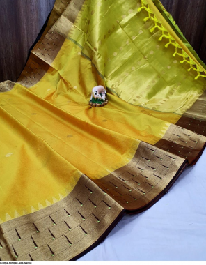 yellow silk fabric plian work running