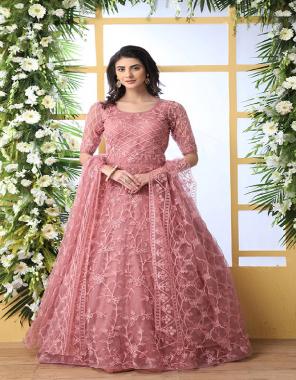 pink top dupatta - net | inner - santoon fabric embroidery + fancy work wedding