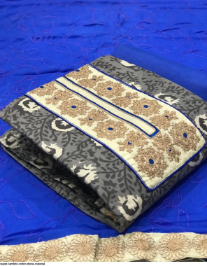 grey cambric cotton fabric embroidery work casual