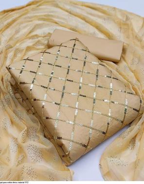 cream top bottom - cotton | dupatta - nazmeen silk fabric embroidery work casual