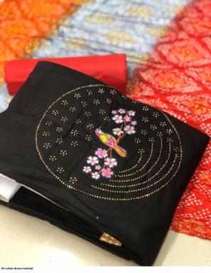 black top bottom - cotton | dupatta - bandhani crush fabric handwork work casual