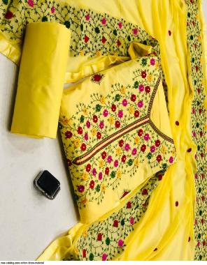 yellow top bottom - cotton | dupatta -nazmin fabric embroidery work festive