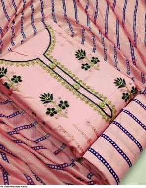 light pink  top bottom - cotton   dupatta - nazmin  fabric embroidery work festive