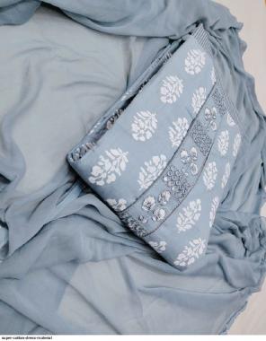 grey top bottom - cotton | dupatta - chiffon fabric printed work ethnic