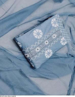 grey top bottom - cotton   dupatta - chiffon fabric printed work running