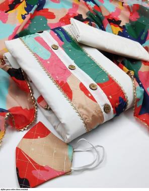 white top bottom - cotton | dupatta - silk fabric printed work party  wear