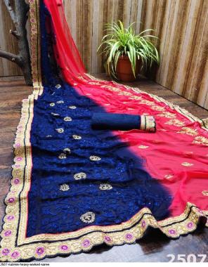 blue saree - nazmin   blouse - banglori fabric embroidery + stone work wedding