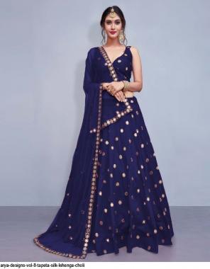 blue taffeta silk fabric mirror work festive
