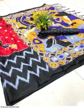 black khadi silk fabric printed work wedding